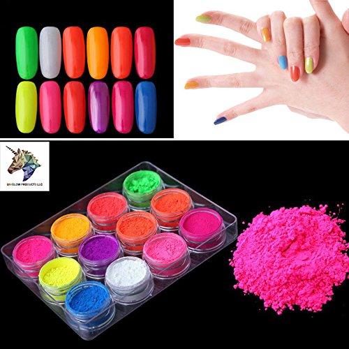 Prestige Fluorescent UV Pigment Powder by UNIGLOW PRODUCTS LLC.   Black Light Reactive   Formaldehyde-Free & ECO Friendly   Multi-Purpose Use Tint Dye   Decorations   (12jars, Multi-Color)