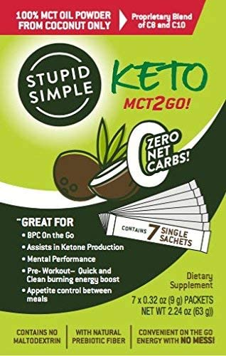 Stupid Simple Keto MCT2Go! 100% MCT Oil Powder from Coconut C8 and C10 Blend, Zero Net Carbs (7 Packets) Great for Pre-Workout, Appetite Control, and Mental Performance 3
