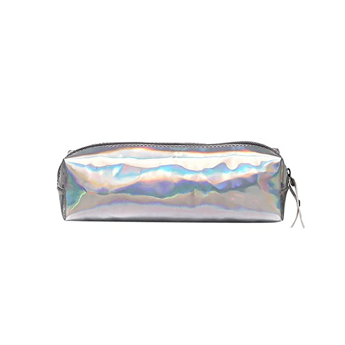 80582db2c8 Beikoard Sacchetto cosmetico del Sacchetto del Sacchetto di Trucco della  Borsa di Cuoio della Chiusura Lampo del Laser Unisex di Modo(Argento):  Amazon.it: ...