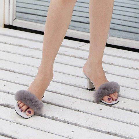 SCLOTHS Chanclas Mujer A mediados talón Arrastre la palabra verano Zapato Abierto de tacón alto Waichuan irregular con Grigio
