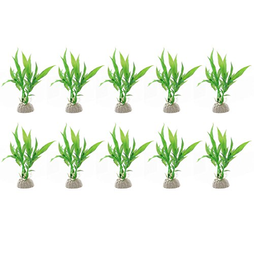 Jardin Plastic Aquarium Tank Plants Grass Decoration, 10-Piece, Green (Plastic Aquarium Plant)