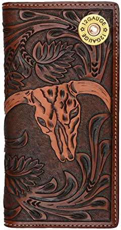 Custom 3D Belt Company Don't Tread On Me Long Brown and Tan Cow Skull Wallet