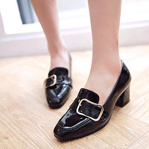 De Zapatos Del Crudo Pie Tacón Cuadrado Dedo Negro CSzdx7q