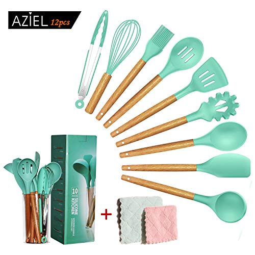 AZIEL 12pcs Silicone Cooking Kitchen Utensils Set, Bamboo Wooden Handles Cooking Tool BPA Free Non Toxic Silicone Turner Tongs Spatula Spoon Kitchen Gadgets Utensil Set for Nonstick Cookware (Green)