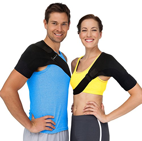 (Shoulder Brace Rotator Cuff Support - Shoulder Pain Relief with Compression Sleeve to Treat Stiff, Injured AC Joints, Labrum Tears, Scapula Tendonitis & Dislocated Shoulders Arm Stabilizer (Large) )