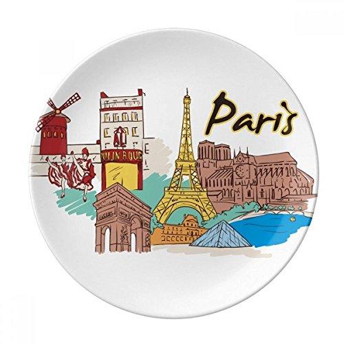France Paris Eiffel Tower Watercolor Dessert Plate Decorative Porcelain 8 inch Dinner Home