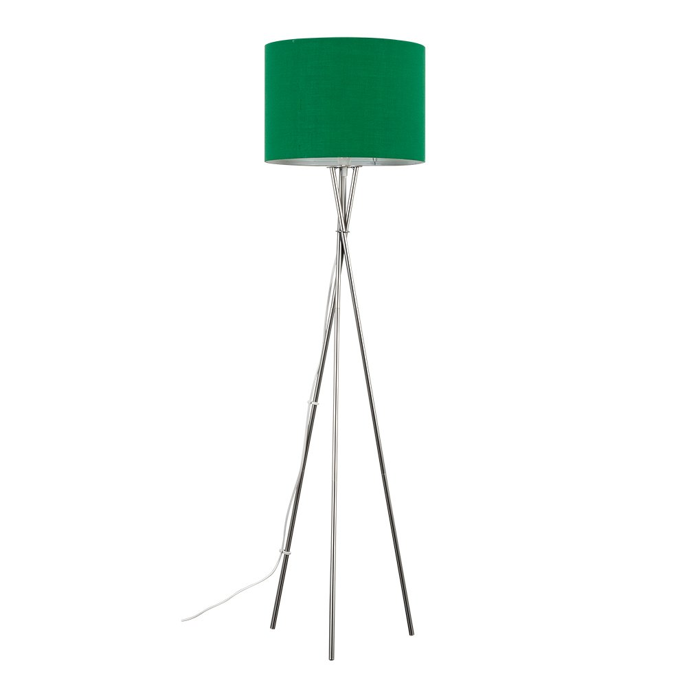 Complete with a MiniSun 6w LED GLS Bulb 3000K Warm White Modern Brushed Chrome Metal Tripod Floor Lamp with a Red Cylinder Light Shade