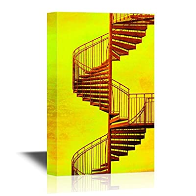 Canvas Wall Art - Spiral Staircase on Vintage Yellow Background - Gallery Wrap Modern Home Art | Ready to Hang - 12x18 inches