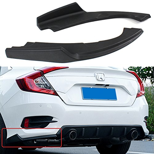 - Fits for 2016-2018 Honda Civic 2 Pieces JDM Rear Bumper Lower Side Splitters Apron Valance