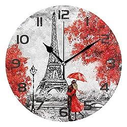 Dozili Romantic Eiffel Tower Paris Decorative Wooden Round Wall Clock Arabic Numerals Design Non Ticking Wall Clock Large for Bedrooms, Living Room, Bathroom