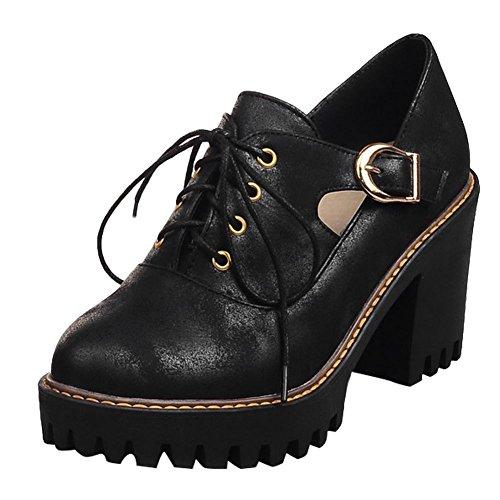 Chic Shoes Chunky Show Oxfords Lacing Up Women's Shine Heel Black Buckles HxHqnEzO