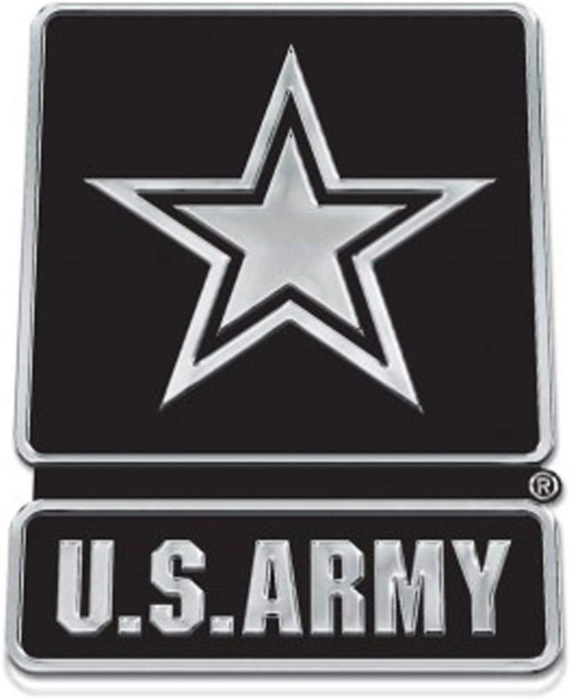 U S Army 3D Silver and Black Acrylic Auto Emblem