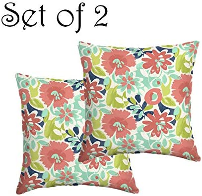 Comfort Classics Inc. Set of 2 Indoor Outdoor Throw Pillow 16 x 16 x 5 in Polyester Harrison Floral