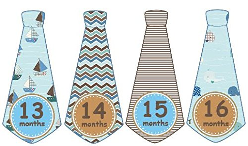 (13-24 Months Monthly Baby Stickers Monthly Tie Stickers Second Year Boy Necktie Monthly Baby Boy Tie Stickers UNCUT Boy Ties Nautical Sailor Boat Anchor Plaid Argyle Stripes Waves Plaids Browns and Blues Baby Month Sticker)