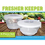 FRESHER KEEPER, Produce, Fruit & Vegetable Food Storage Container with Spoil-free Reservoir Bottom, BPA-free, Dishwasher-Freezer-Microwave Safe, Clear, Nesting Container with Interchangeable Lids