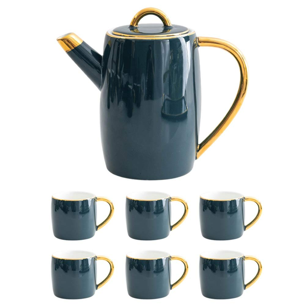 Coffee Pot Tea Pot Coffee Kettle Espresso Coffee Maker Coffee Machine French Coffee Press Ceramics Sets Water Bottle Large Capacity GAOFENG (Color : Pot+6 Cups)