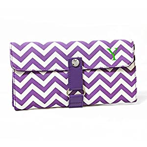 Cathy's Concepts Modern Personalized Chevron Makeup Roll Brush Set, Monogrammed Y, Lavender