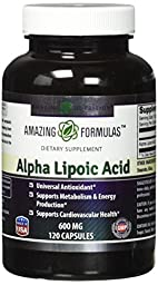 Amazing Formulas Alpha Lipoic Acid * 600mg 120 Capsules Per Bottle * Pure ALA Capsules - Ideal Nutrition Supplement for healthy weight management, Athletic Performance & More