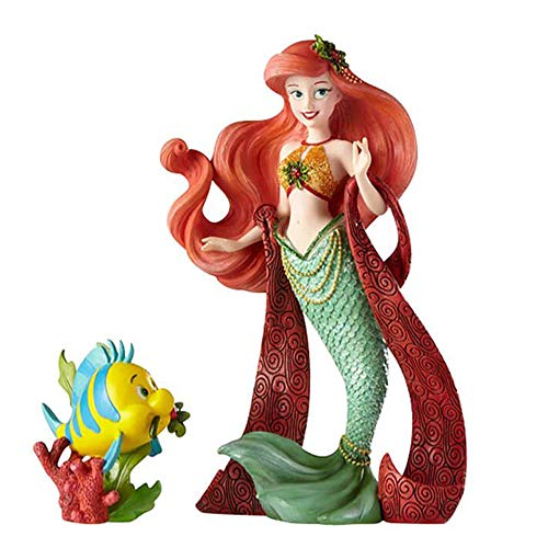 Enesco Disney Showcase The Little Mermaid Holiday Ariel and Flounder Stone Resin Figurine Set, Set of 2, Multicolor