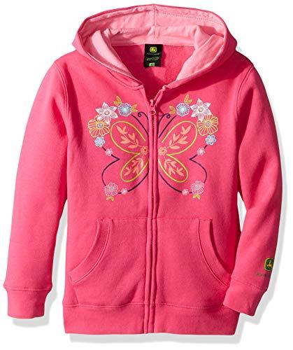 John Deere Girls' Little Fleece Zip Hoody, Pink, -
