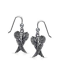 Guardian Angel Wings Feather Dangle Earrings For Women For Teen Oxidized 925 Sterling Silver Fish Hook