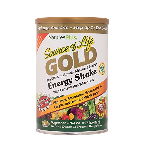 NaturesPlus Source of Life Gold Energy Shake – .97 lbs, Vegetarian Drink Mix – Tropical Berry Flavor – Whole Food Vitamin, Mineral Protein Powder – with Probiotics – Gluten-Free – 13 Servings