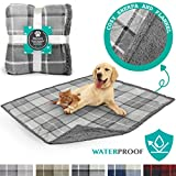 PetAmi Waterproof Dog Blanket for Couch, Sofa | Waterproof Grey Sherpa Pet Blanket for Large Dogs, Puppies | Super Soft Washable Microfiber Fleece | Reversible Checkered Design | 60 x 40 (Light Gray)