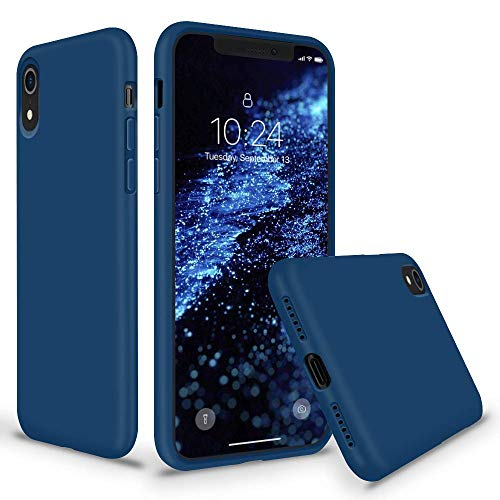 SURPHY Silicone Case for iPhone XR, Thicken Liquid Silicone Shockproof Protective Case Cover (Full Body Thick Case with Microfiber Lining) Compatible with iPhone XR 6.1, Blue Horizon