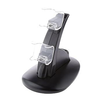 MagiDeal Videojuegos Cargador Ayudar a Cargar Rápida Doble USB para PS4 Mando Gamepad Negro