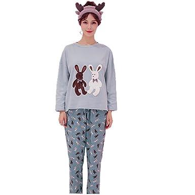 Women pyjamas set ,nightwear lounge suit cartoon animal print pyjamas (M(Height 150