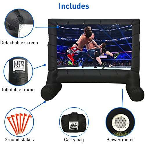 EasyGo Products 14' Inflatable Mega Movie Screen - Canvas Projection Screen for Outdoor Parties - Movie Cinema is Guaranteed to Thrill and Excite. Includes Inflation fan, Tie-Downs and Storage bag
