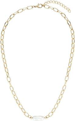 Tribal Spirit - Collar para Mujer con Perla de Agua Dulce de Estilo Barroco (8 Quilates), Color Dorado