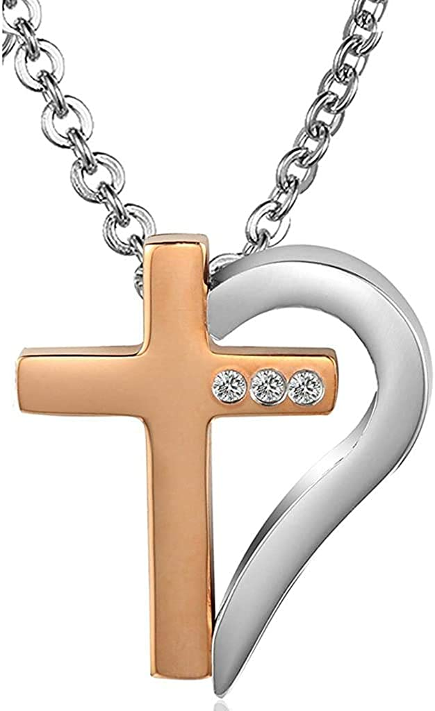 LOPEZ KENT Hers /& Hers Necklace Set Couples Stainless Steel Half Heart Cross Chain Link CZ Puzzle Pendant