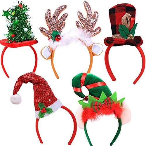 5 Pack Christmas Headbands Set, Decorative Hair Hoops