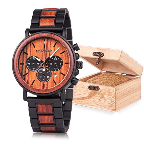 Mens Wooden Watches Analog Quartz Wood&Steel Band Wrist Watch for Men with Gift Box
