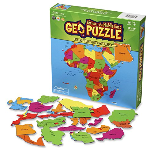 Kids Map Continents - GeoPuzzle Africa and the Middle East - Educational Geography Jigsaw Puzzle (65 pcs) - by Geotoys