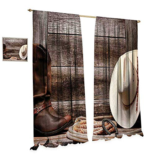 Western Decor Room Darkening Wide Curtains American West Rodeo White Straw Cowboy Hat with Lariat Leather Boots on Rustic Barn Wood Decor Curtains by W84 x L96