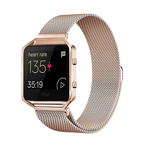 Andyou Fitbit Blaze Band with Frame, Stainless Steel Replacement Adjustable Band with Metal Frame for Fitbit Blaze Women Men,Rose Gold Small by