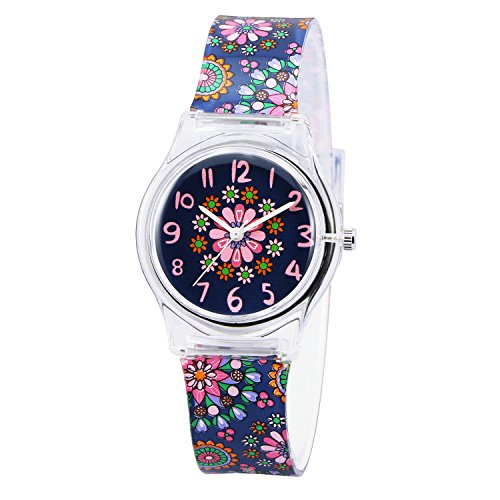 (Zeiger Kids Children Girls Women Teen Watch Time Teacher Watch with Silicon Band(Black Small Floral))