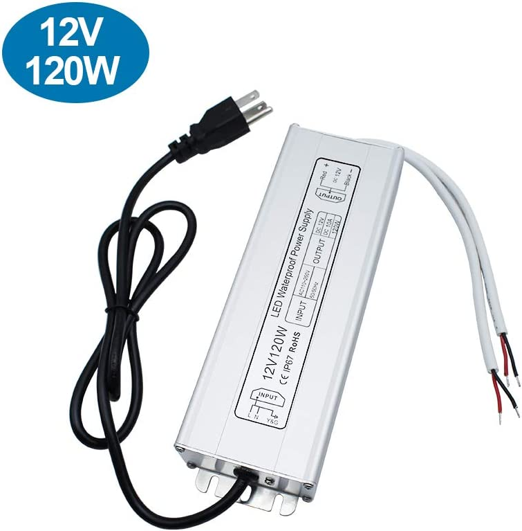 inShareplus LED Power Supply, 120W IP67 Waterproof Outdoor Driver,AC 90-265V to DC 12V 10A Low Voltage Transformer, Adapter with 3-Prong Plug for LED Light, Computer Project, Outdoor Use