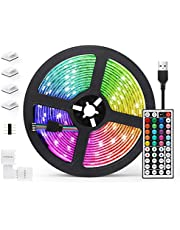 AGPTEK 5M LED Strip Lights RGB 5050 Colorful Lights with Remote Control, 20 Colors 8 Brightness Modes Decorative LED Tape Lighting for Living Room,Dining Room,Kitchen,Christmas,Bar,Halloween,Party