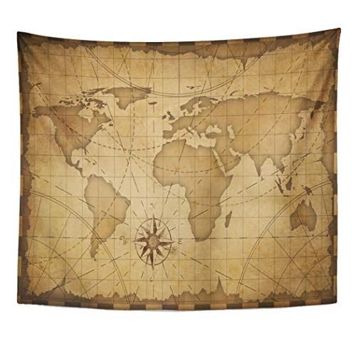 (Emvency Decor Wall Tapestry Brown Antique Old Nautical Vintage World Map Treasure Pirate Adventure Wall Hanging Picnic for Bedroom Living Room Dorm 60x50 Inches)