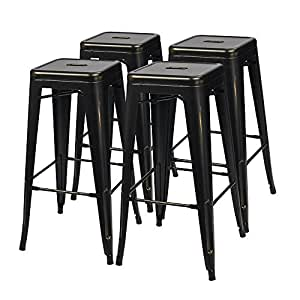 """Furmax 30'' Metal Stools High Backless Metal Stool Tolix Bar Stool 30"""" High Backless Indoor-Outdoor Stackable Stools with Square Seat Black Golden ( Set of 4)"""