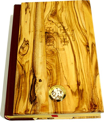 Large Jerusalem Stone (Olive Wood covered Millennium Bible with 'Jerusalem Stones' ~ Red-letter King James Version of the Old and the New Testament (Large - 8 x 5.5 Inches))