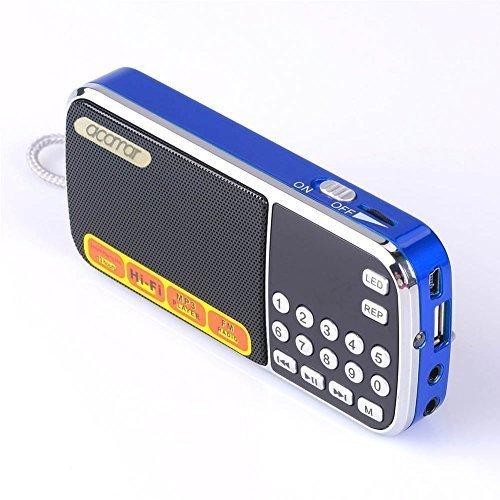 Mfine Portable Mini USB FM Radio Speaker Music Player TF Card For PC iPod Phone (088 Blue) (Frequency Wireless Radio Pc Usb)