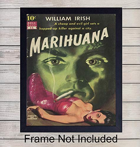 Marijuana Wall Art Print - Vintage cannabis decor Unframed Photo -