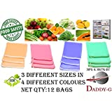 Daddy Gtm Multi-Purpose Vegetables, Fruits Mesh Fridge Storage Washable Zip Bags, 10x8.5 inches,12x9 inches and 15x8.5 inches - (Pack of 12)