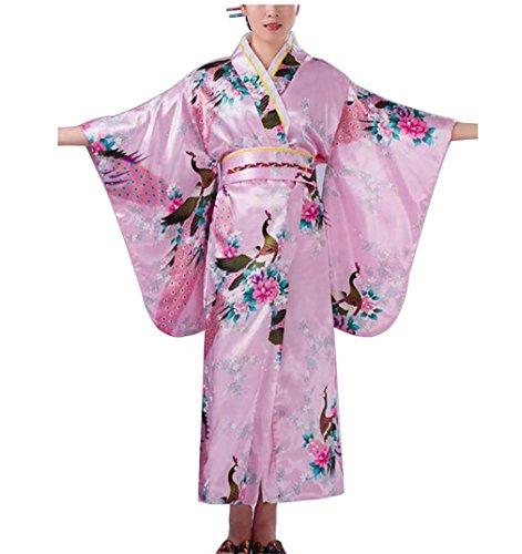 Botanmu Women's Kimono Robe Japanese Dress Photography Cosplay Costume 5 Colors (Pink)