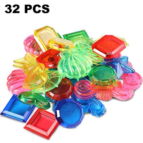 32 Pieces Sinking Dive Gem Pool Toy Sinking Diving Gems Colorful Acrylic Gemstones for Summer Pool Party - Circular Gemstone