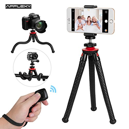Phone Tripod, AFFLEXY iPhone 10 Tripod Adjustable and Flexible Tripod for iPhone with Remote Tripod for iPhone 10, Android Phone, Camera, Webcam and GoPro Fence Shooting Bag